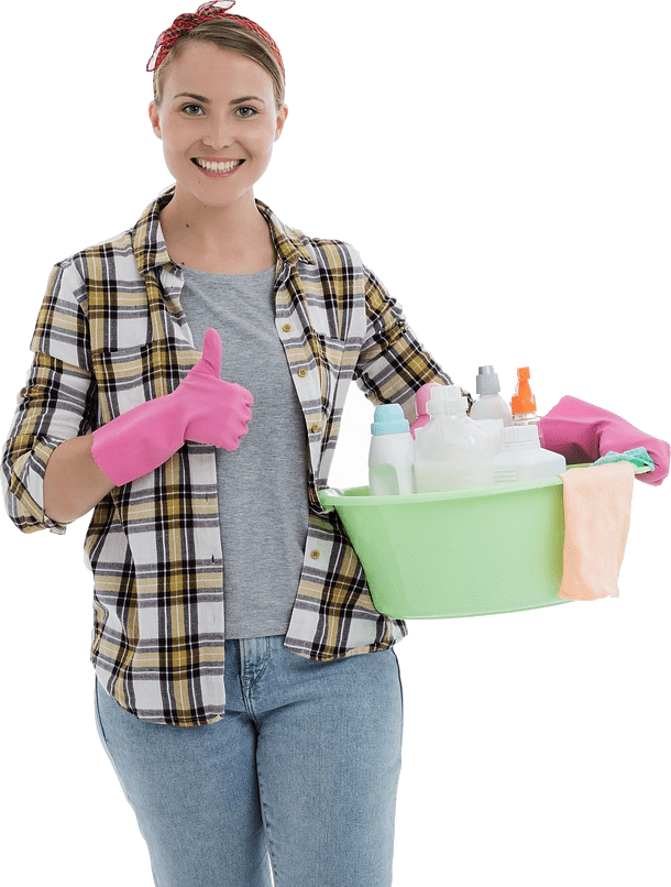 a maid carrying cleaning productsf