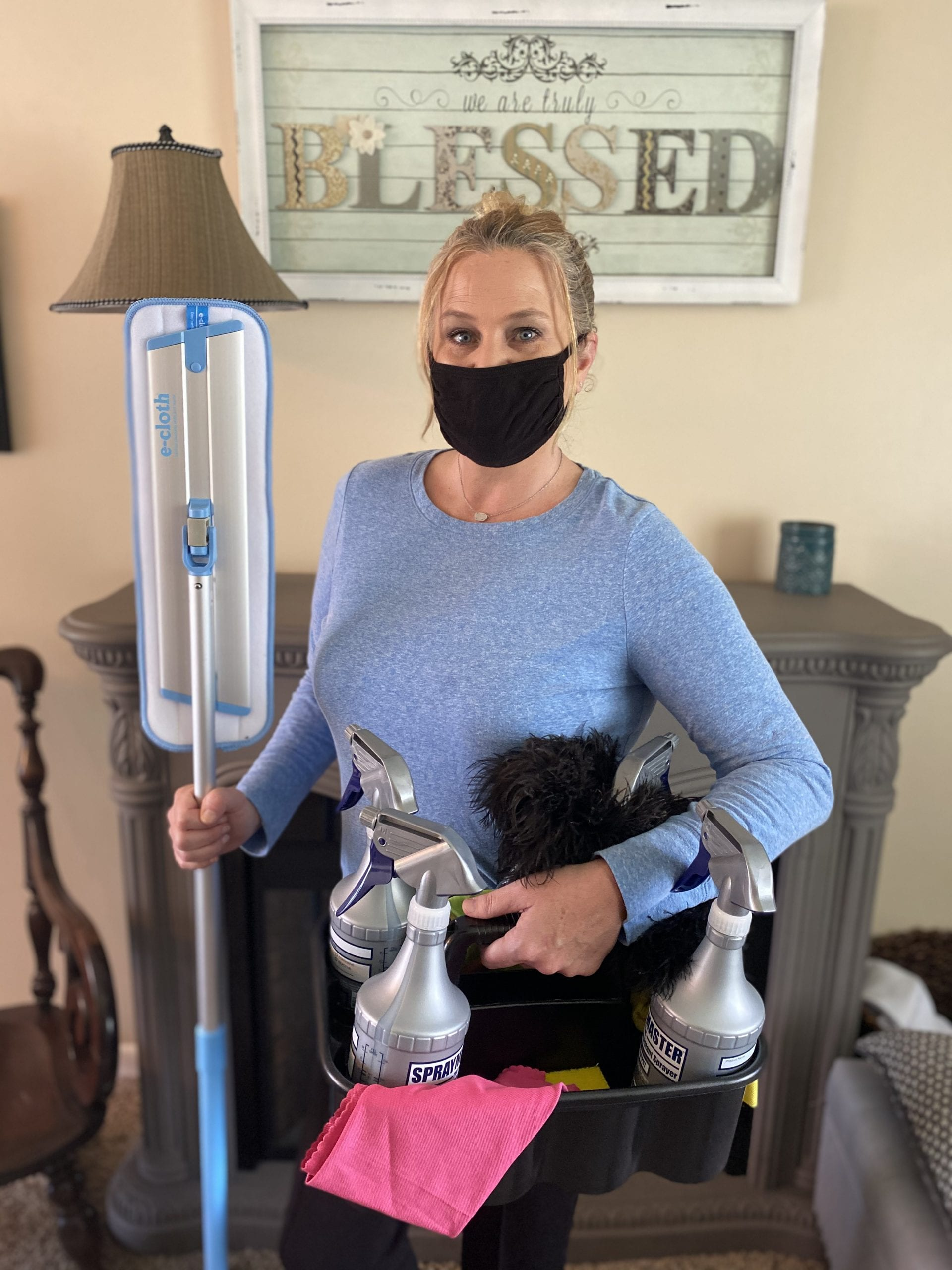 Christine the owner of valrico home maid serviceon the job cleaning