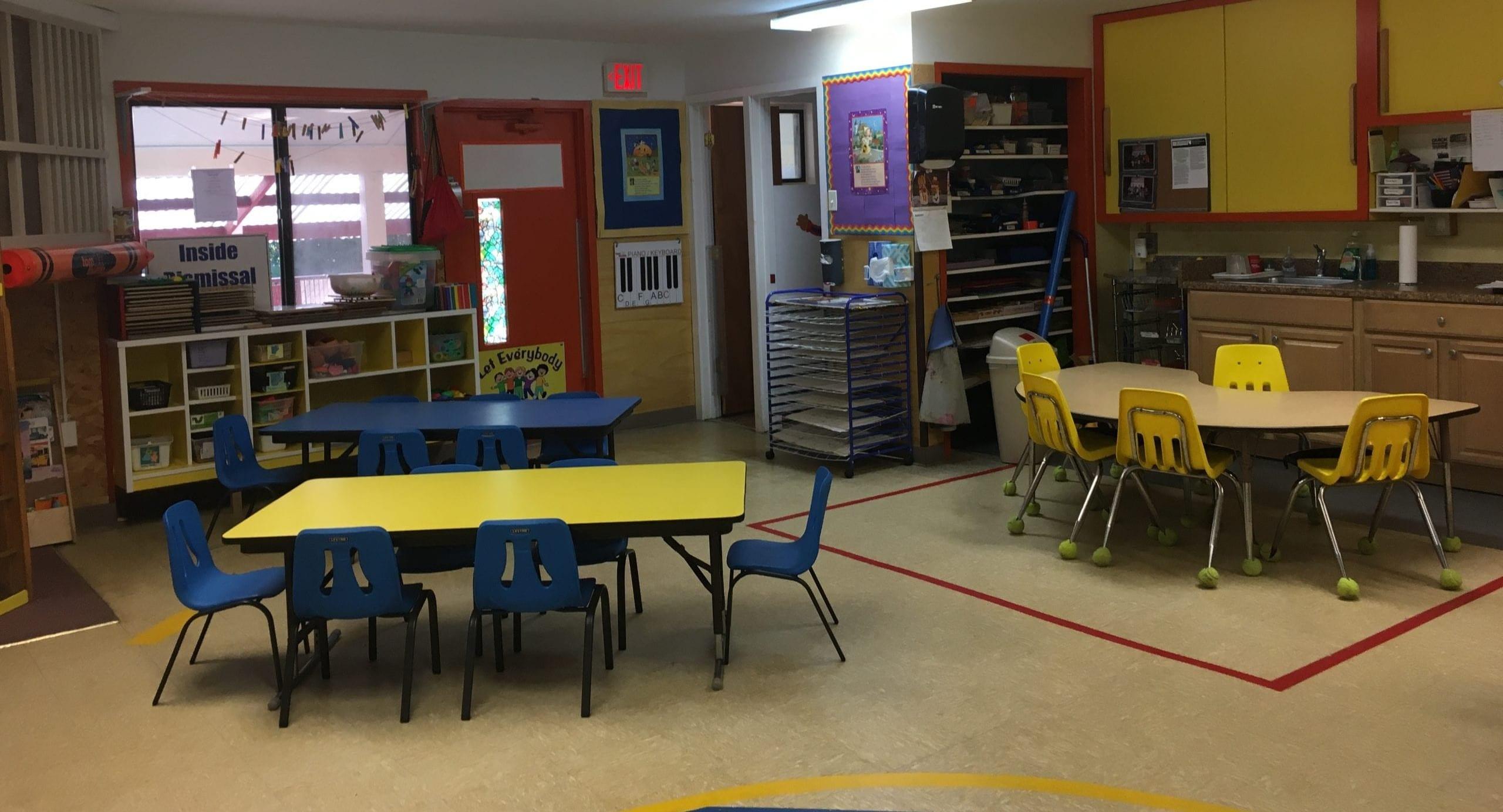 disinfected preschool classroom